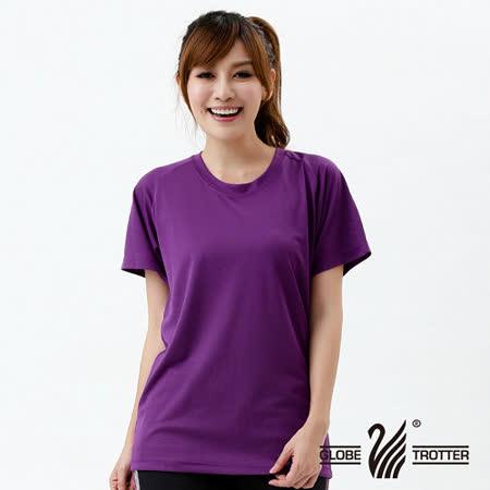 【遊遍天下】100% MIT中性款網紋涼感圓領吸濕排汗機能衫S0706紫