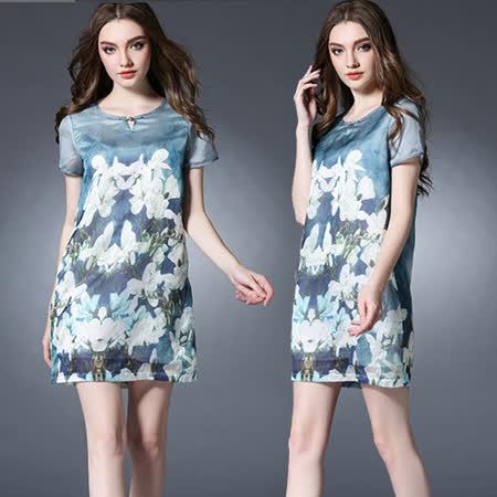 【麗質達人中大碼】2727藍色印花洋裝(XL-5XL)
