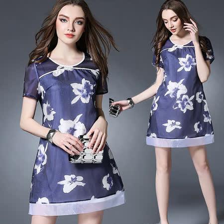 【麗質達人中大碼】2757藍色印花洋裝(XL-5XL)