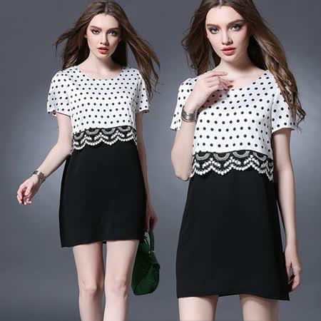 【麗質達人中大碼】2779小圓點印花洋裝(XL-5XL)