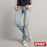 5th STREET 立體版小直筒牛仔褲-女-拔淺藍