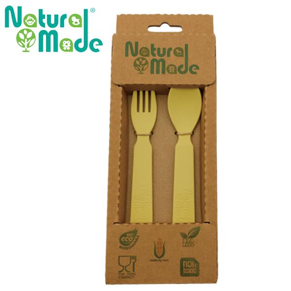 ~Natural Made~ 環保玉米餐具組 ~ 湯匙14x3x2cm  叉子14x2.4