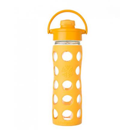 美國唯樂Lifefactory 彩色玻璃水瓶-吸嘴450ml黃色LF224204