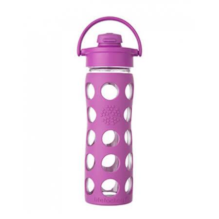 美國唯樂Lifefactory 彩色玻璃水瓶-吸嘴450ml莓紫LF224205