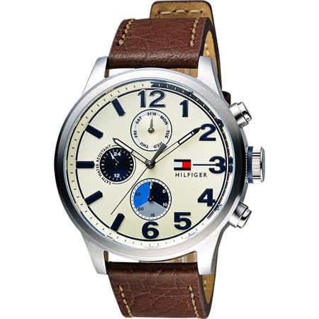 TOMMY HILFIGER Men Cool 三環日曆腕錶-金x咖啡/44mm M1791239