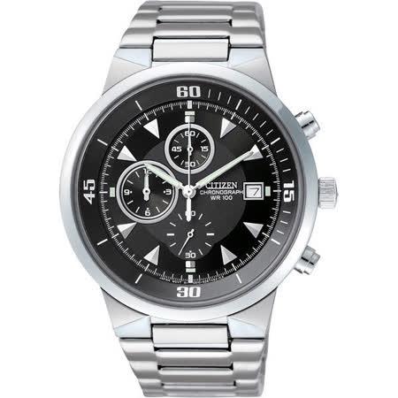 CITIZEN 光速三眼計時腕錶-黑/41mm AN3370-57E