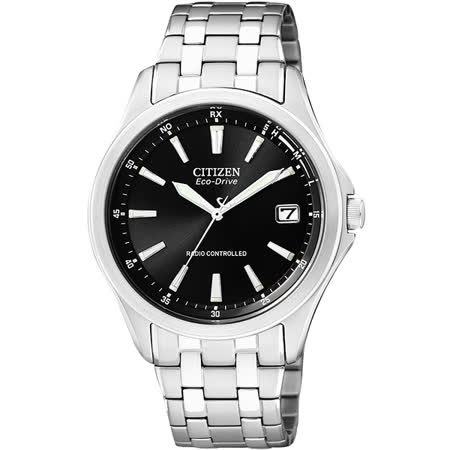 CITIZEN 光動能電波萬年曆時尚腕錶-黑/38mm AS5040-50E