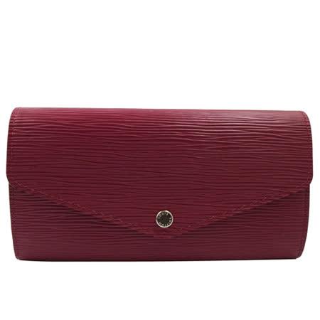 Louis Vuitton LV M60580 Sarah EPI水波紋皮革發財包扣式長夾.紫紅_現貨