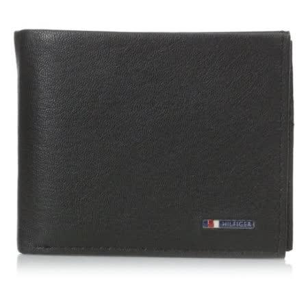Tommy Hilfiger 2016男時尚Lloyd銘牌標識雙折黑色皮夾【預購】