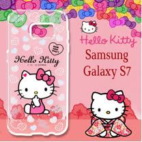 三麗鷗授權 Hello Kitty 凱蒂貓 Samsung Galaxy S7 5.1吋 浮雕彩繪透明手機殼(心愛凱蒂)