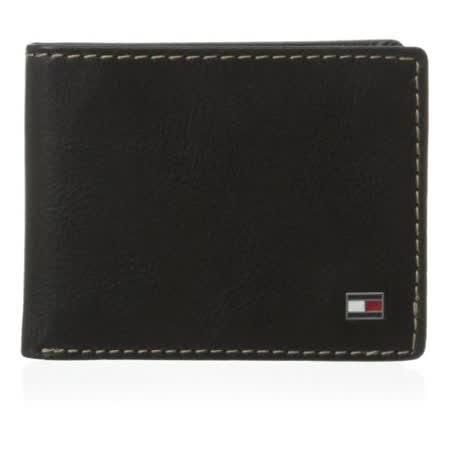 Tommy Hilfiger 2016男時尚Logan對比縫線標牌黑色雙折皮夾【預購】