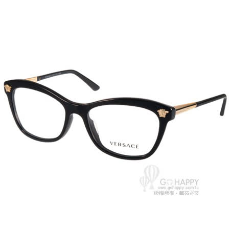 VERSACE光學眼鏡 義式簡約別緻款(黑-金) #VE3224A GB1