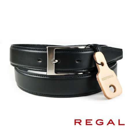【REGAL】基本款紳士皮帶/扣環x2 黑色(ZR050-BL)