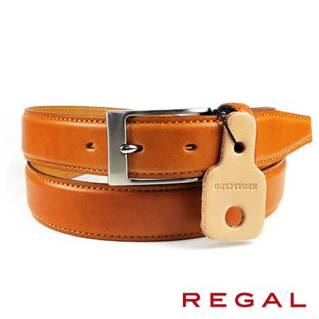 【REGAL】基本款紳士皮帶/扣環x2 黃褐(ZR050-CAM)