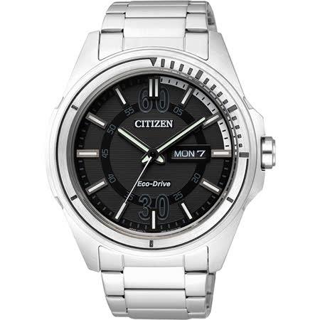 CITIZEN Eco-Drive 率性雅爵光動能腕錶-黑/43mm AW0030-55E