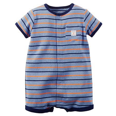 美國 Carter / Carter's 嬰幼兒短袖連身衣_藍灰條紋_CTRMB003