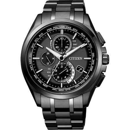 CITIZEN 【鈦】金屬萬年曆5局電波腕錶-黑/42mm AT8044-56E