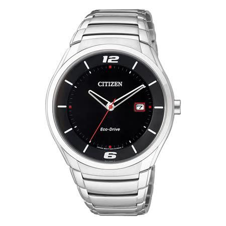 CITIZEN Eco-Drive 運動風簡約光動能腕錶-黑/40mm BM6951-57E