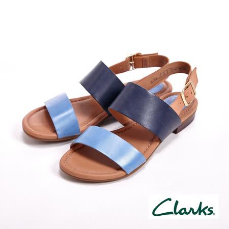 【Clarks】涼夏繽紛 經典寬版線條涼鞋 女鞋-藍(另有橘)