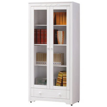 HAPPYHOME 維格白色2.8尺玻璃門書櫃UZ6-264-1