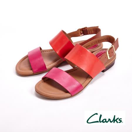 【Clarks】涼夏繽紛 經典寬版線條涼鞋 女鞋-橘(另有藍)