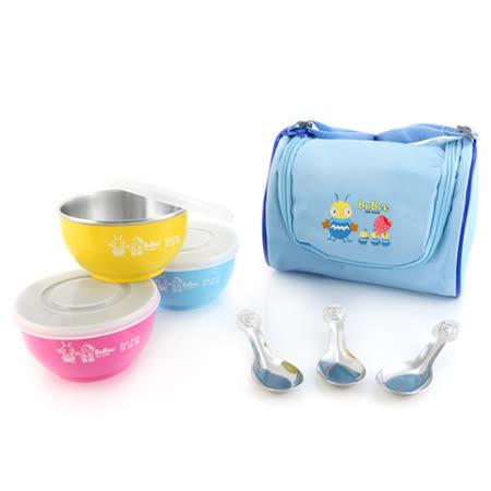 開心上學趣☆304三色兒童碗組(附提袋)Y-214SB