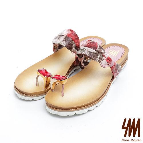 SM-台灣製真皮系列-自然墨彩大拇寶石戒指平底夾腳拖鞋-粉色