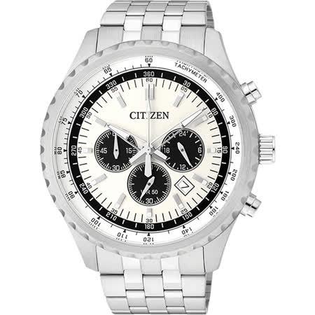 CITIZEN 追尋之旅三眼計時腕錶-白x銀/45mm AN8060-57A