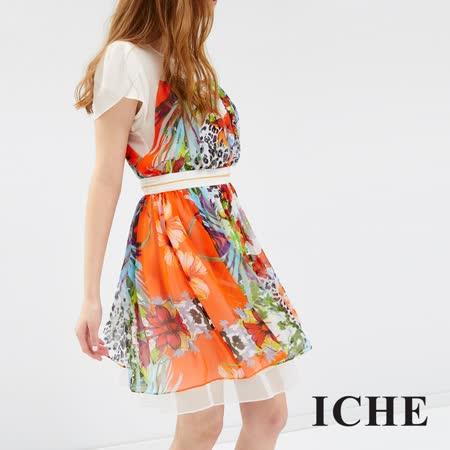 ICHE 衣哲 花苞袖多色印花洋裝