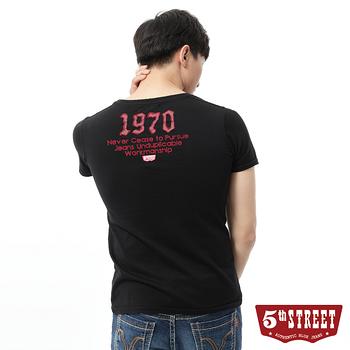 5th STREET 粗線調袋花短袖T恤-男-黑色