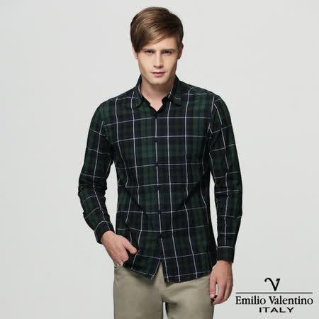 Emilio Valentino范倫提諾水洗格紋襯衫-綠