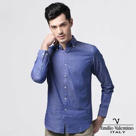 Emilio Valentino范倫提諾圓點緹花修身襯衫-藍