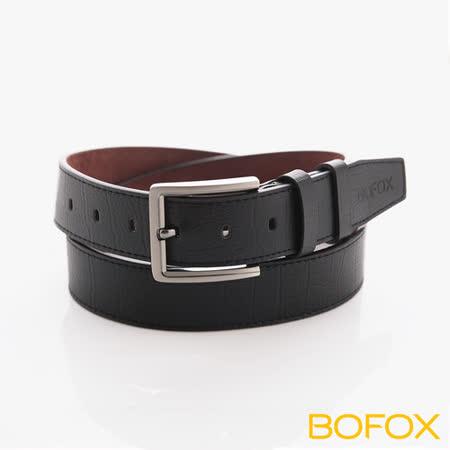 BOFOX 真皮壓紋休閒皮帶-黑