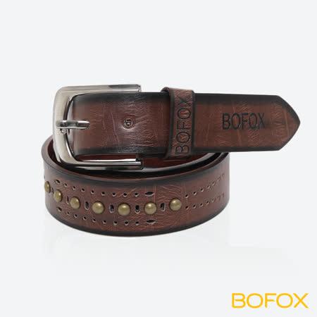 BOFOX 個性鉚釘休閒皮帶-咖啡
