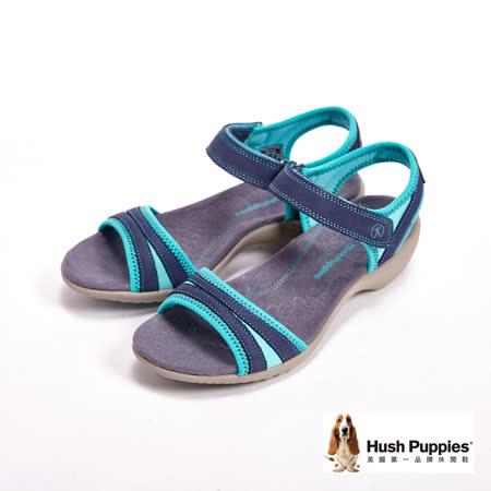 Hush Puppies 魔鬼氈雙配色質感涼鞋-深藍(另有黑、銀)