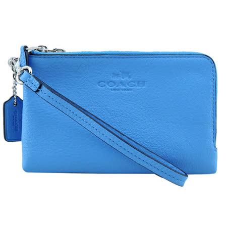 COACH 馬車壓紋LOGO雙拉鍊皮革手拿包(天藍)