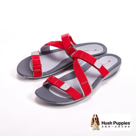 Hush Puppies CANDY IONE經典Z字織帶拖鞋-紅(另有黑)