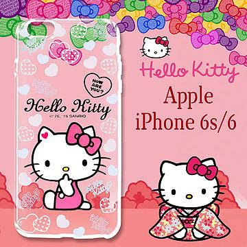 三麗鷗授權 Hello Kitty 凱蒂貓 iPhone6 / 6s i6s 4.7吋  浮雕彩繪透明手機殼(心愛凱蒂)