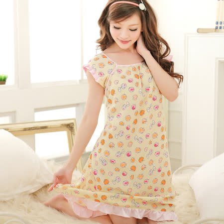 Wonderland ST8922 俏皮小蘋果緞面雪紡紗居家洋裝