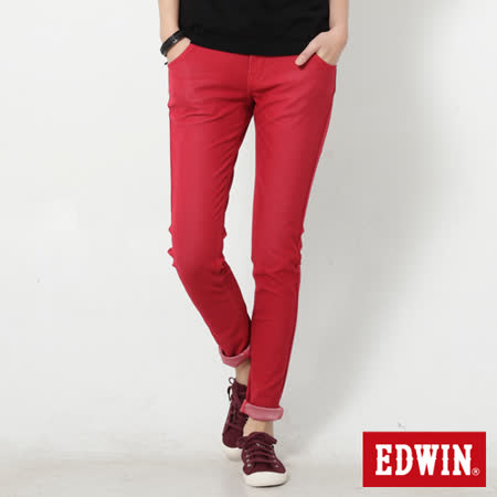EDWIN 迦績褲 立體剪裁磨毛窄直筒色褲-女-紅色