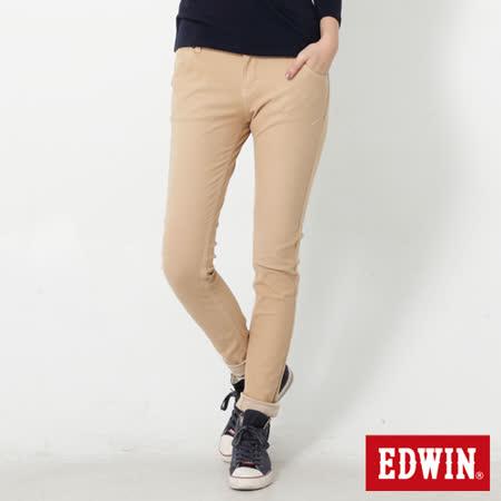 EDWIN 迦績褲 立體剪裁磨毛窄直筒色褲-女-灰卡其