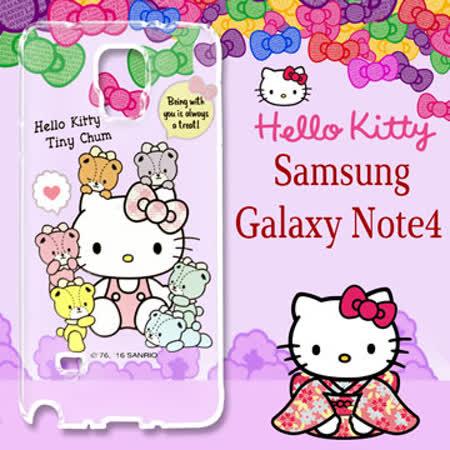 三麗鷗授權 Hello Kitty 凱蒂貓 Samsung Galaxy Note4  浮雕彩繪透明手機殼(熊好朋友)