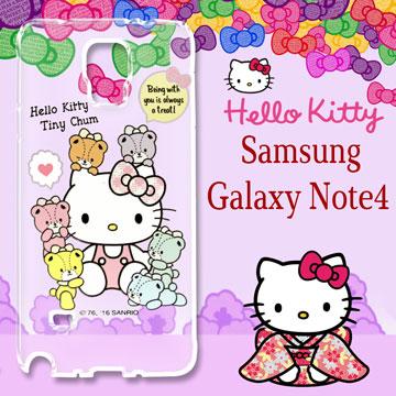 三麗鷗授權 Hello Kitty 凱蒂貓 Samsung Galaxy Note4  浮雕彩繪透明iPhone殼(熊好伴侶)