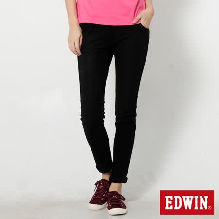 EDWIN 迦績褲 立體剪裁磨毛窄直筒色褲-女-黑色