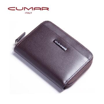 CUMAR 義大利牛皮拉鍊零錢卡夾包~咖啡色