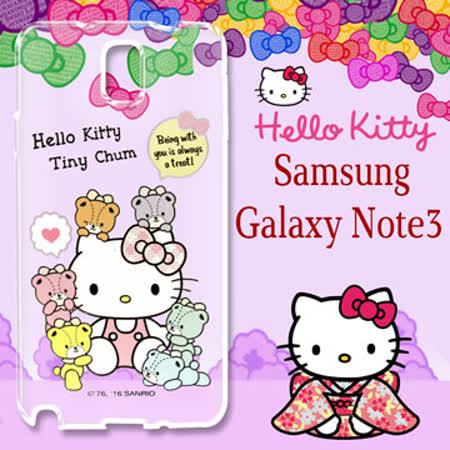 三麗鷗授權 Hello Kitty 凱蒂貓 Samsung Galaxy Note3  浮雕彩繪透明手機殼(熊好朋友)