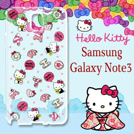 三麗鷗授權 Hello Kitty 凱蒂貓 Samsung Galaxy Note3 浮雕彩繪透明手機殼(繽紛點心)