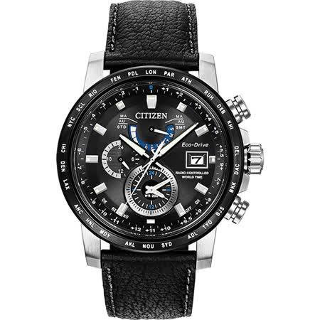 CITIZEN 光動能電波萬年曆腕錶-黑/43mm AT9071-07E