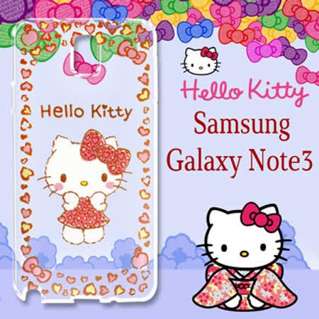 三麗鷗授權 Hello Kitty 凱蒂貓 Samsung Galaxy Note3 浮雕彩繪透明手機殼(甜心豹紋)