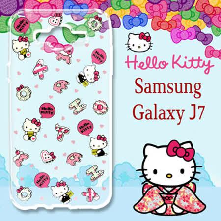 三麗鷗授權 Hello Kitty 凱蒂貓 Samsung Galaxy J7 / J700 5.5吋 浮雕彩繪透明手機殼(繽紛點心)
